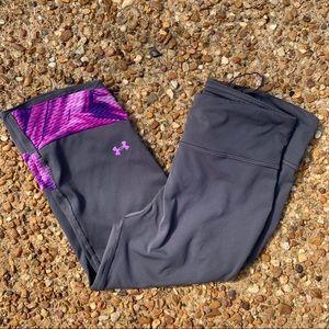 Under Armor Capri Leggings Grey Purple Size M